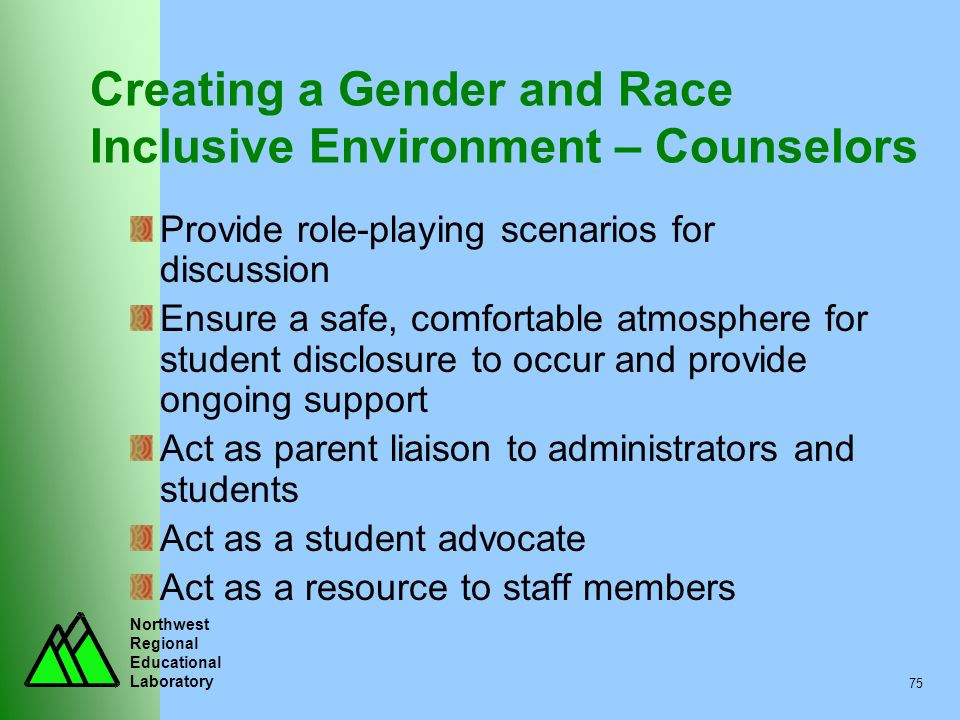 Creating a Gender and Race Inclusive Environment – Counselors