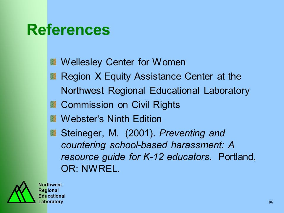 References Wellesley Center for Women