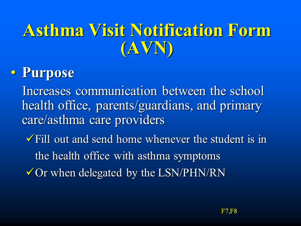 Asthma Visit Notification Form (AVN)