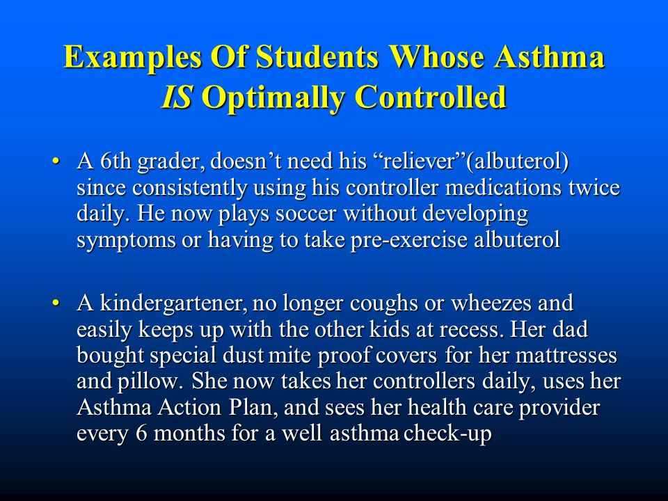 Examples Of Students Whose Asthma IS Optimally Controlled