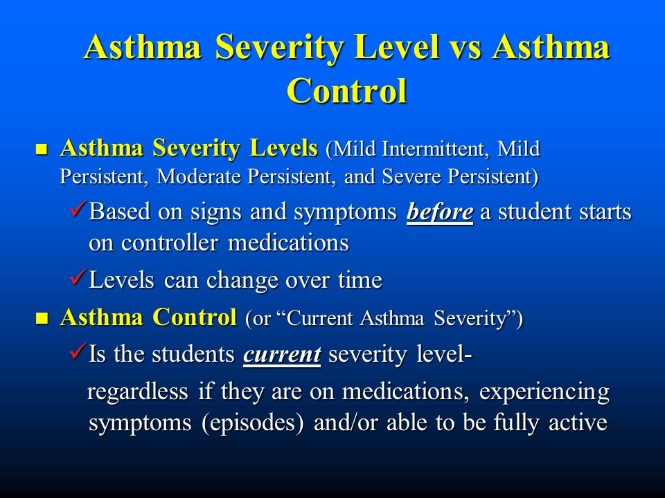 Asthma Severity Level vs Asthma Control