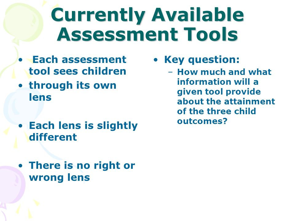 Currently Available Assessment Tools