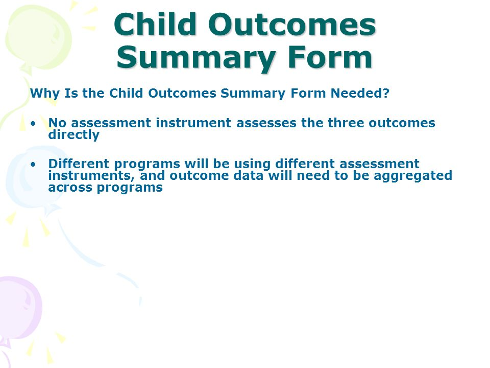 Child Outcomes Summary Form