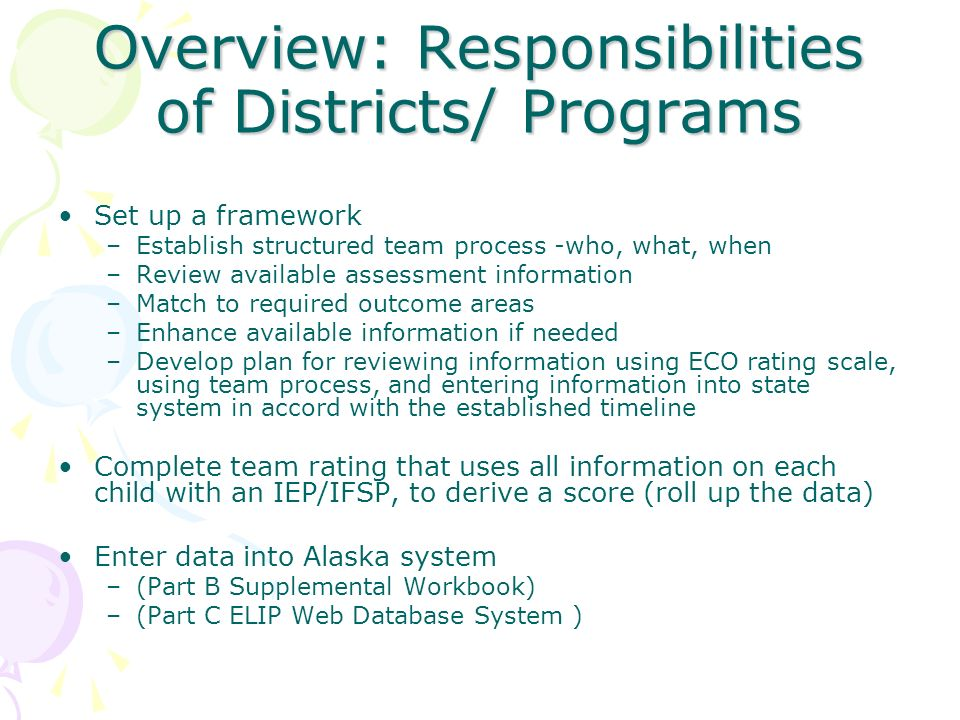 Overview: Responsibilities of Districts/ Programs