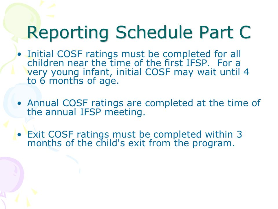 Reporting Schedule Part C