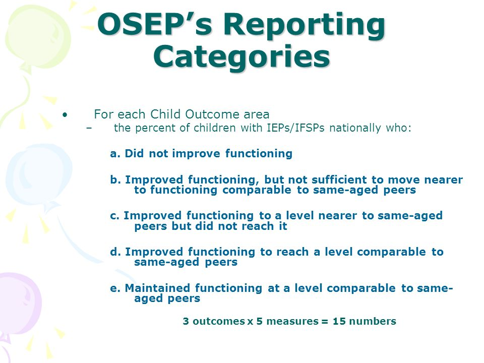 OSEP's Reporting Categories