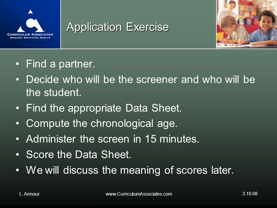Application Exercise Find a partner.