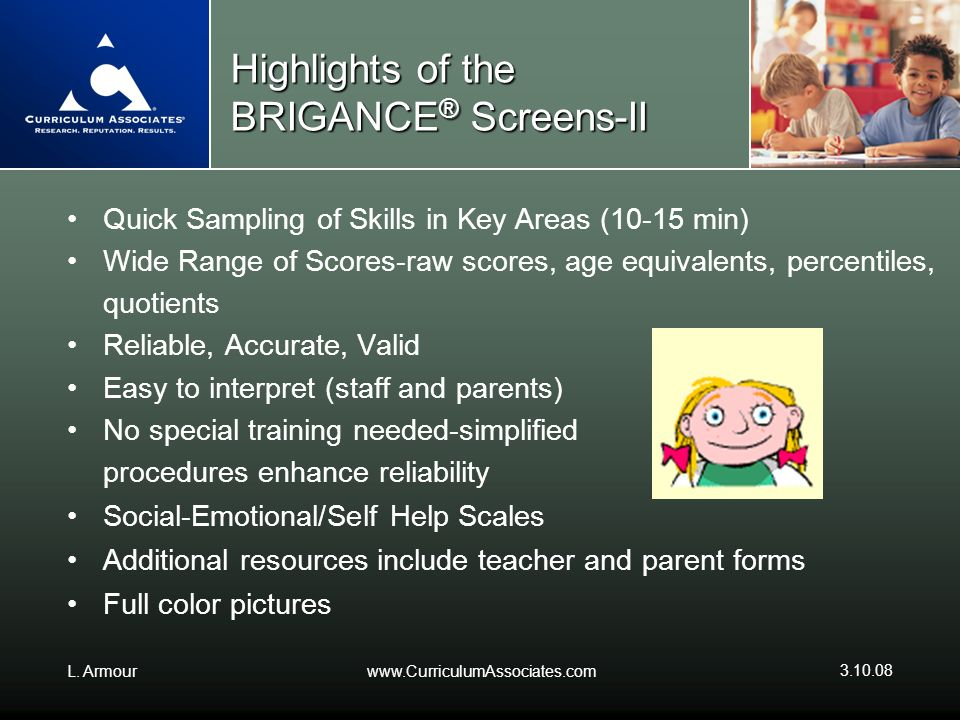 Highlights of the BRIGANCE® Screens-II