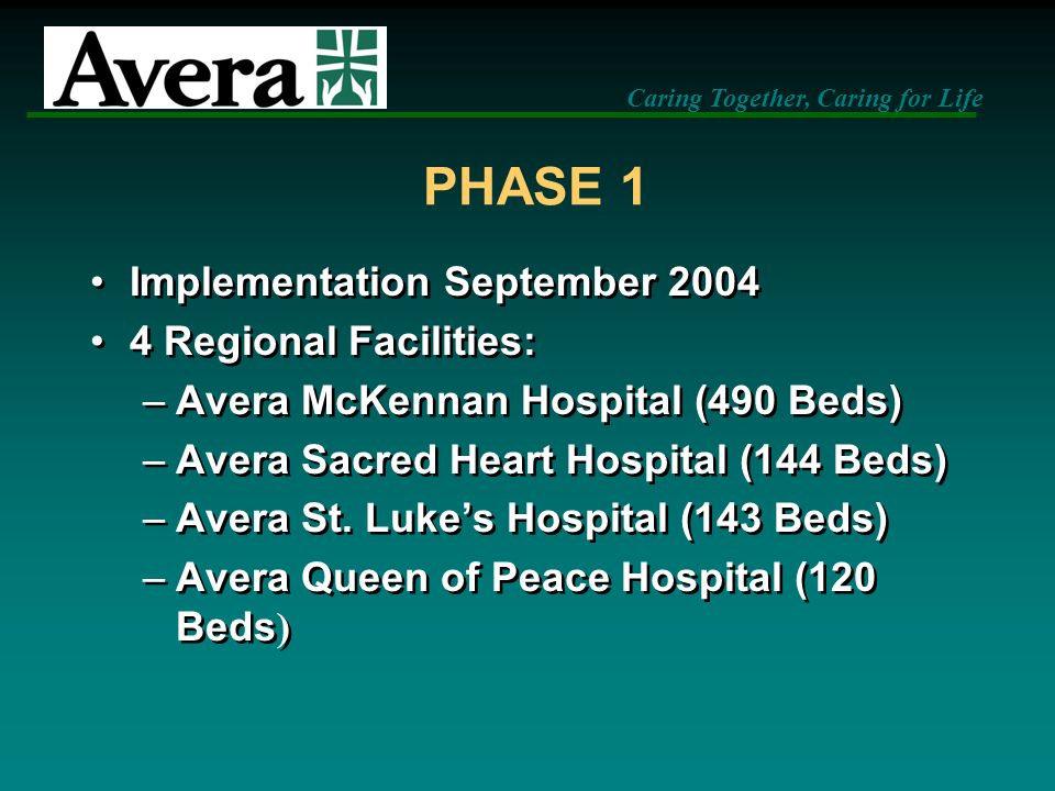 PHASE 1 Implementation September 2004 4 Regional Facilities: