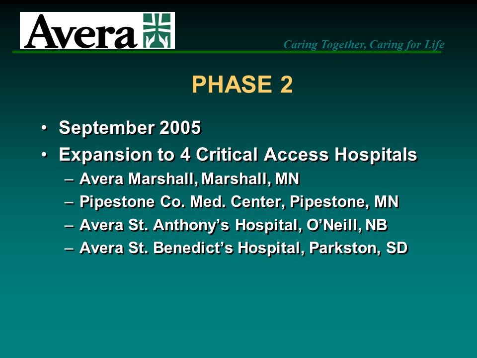 PHASE 2 September 2005 Expansion to 4 Critical Access Hospitals