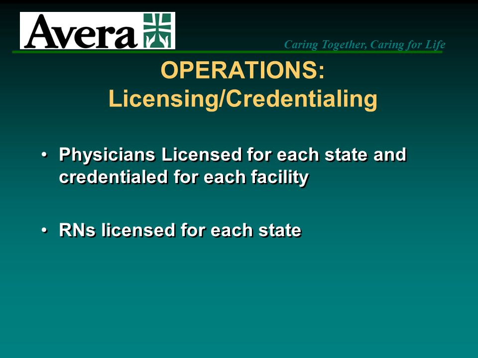 OPERATIONS: Licensing/Credentialing