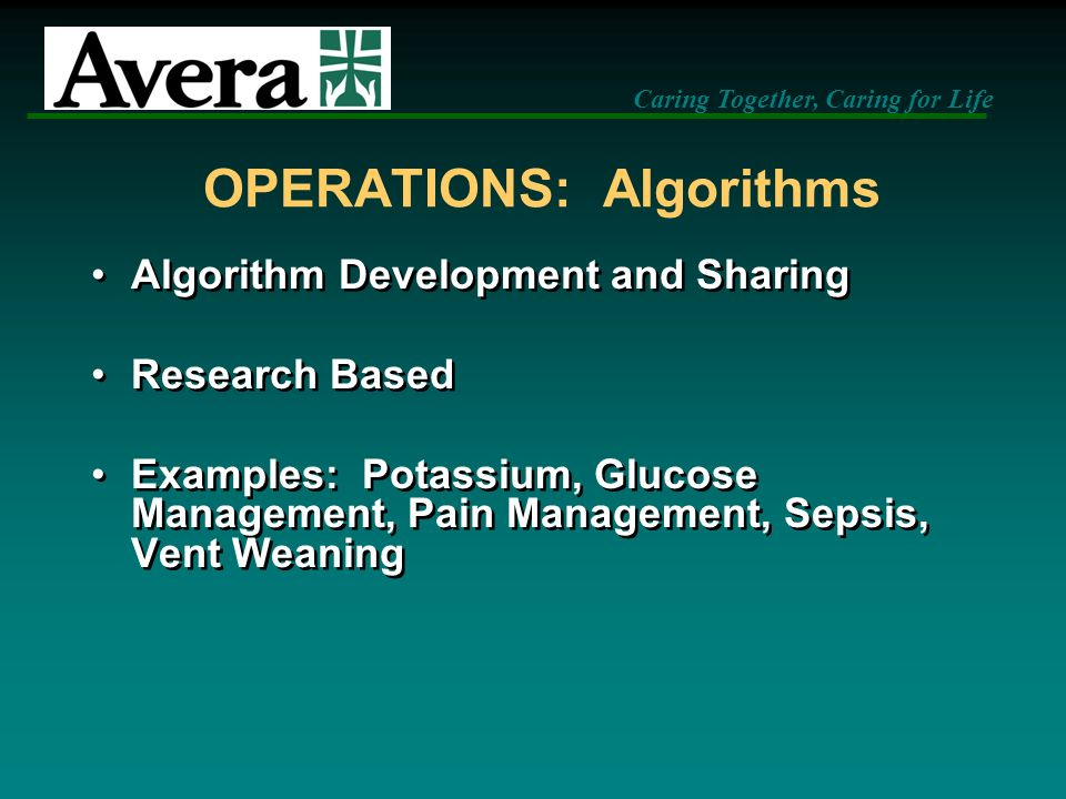 OPERATIONS: Algorithms