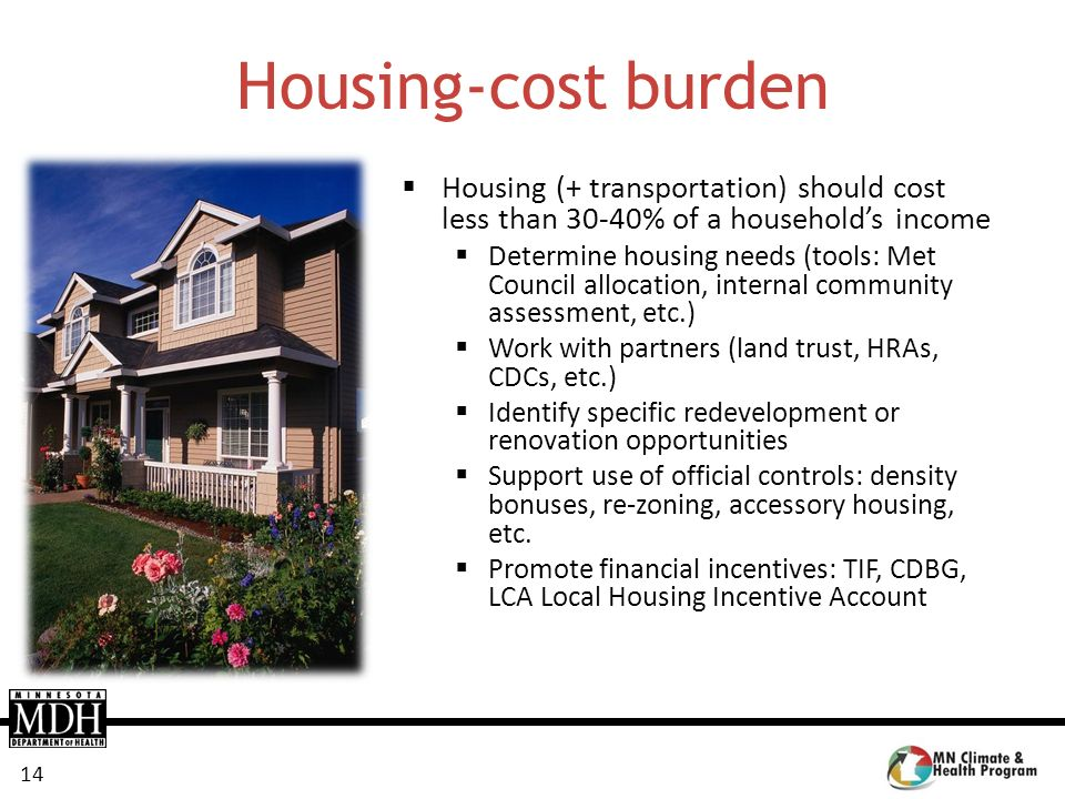 Housing-cost burden Housing (+ transportation) should cost less than 30-40% of a household's income.
