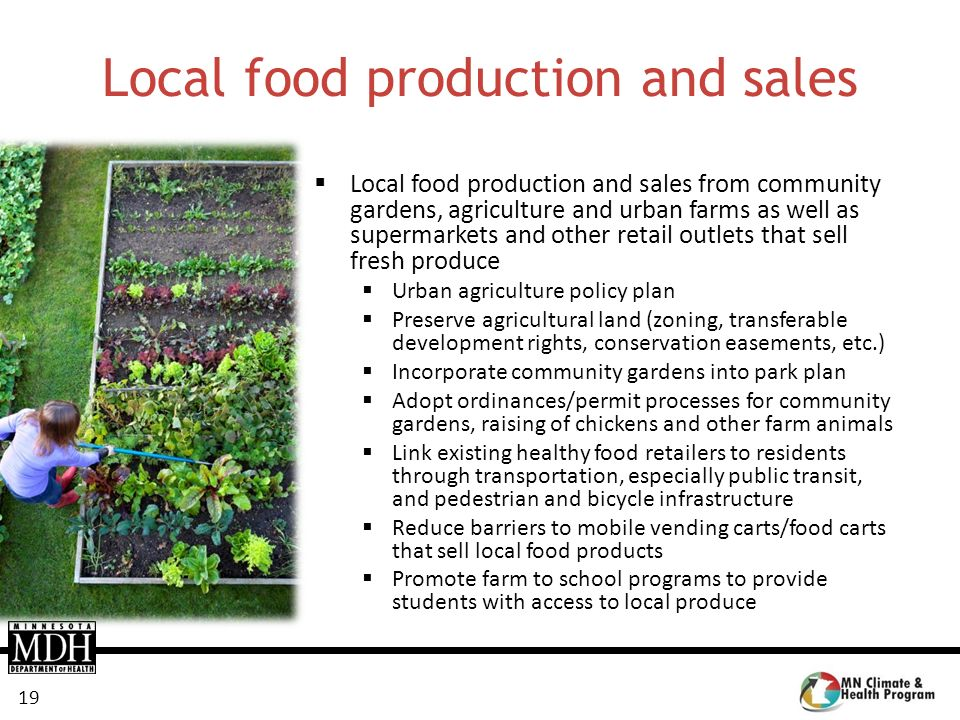 Local food production and sales