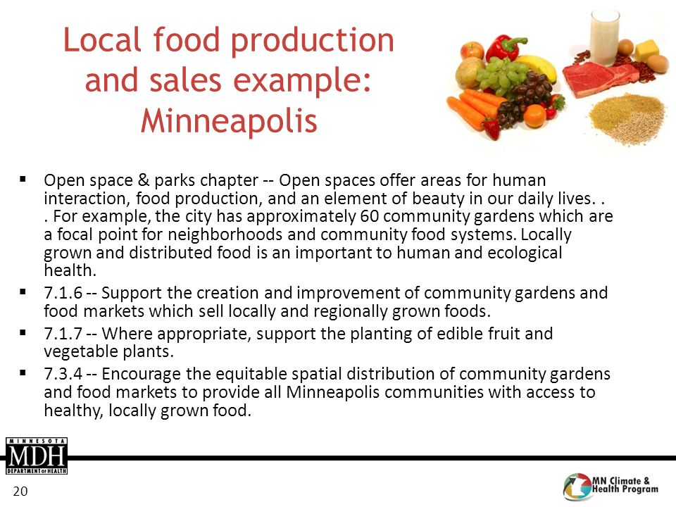 Local food production and sales example: Minneapolis