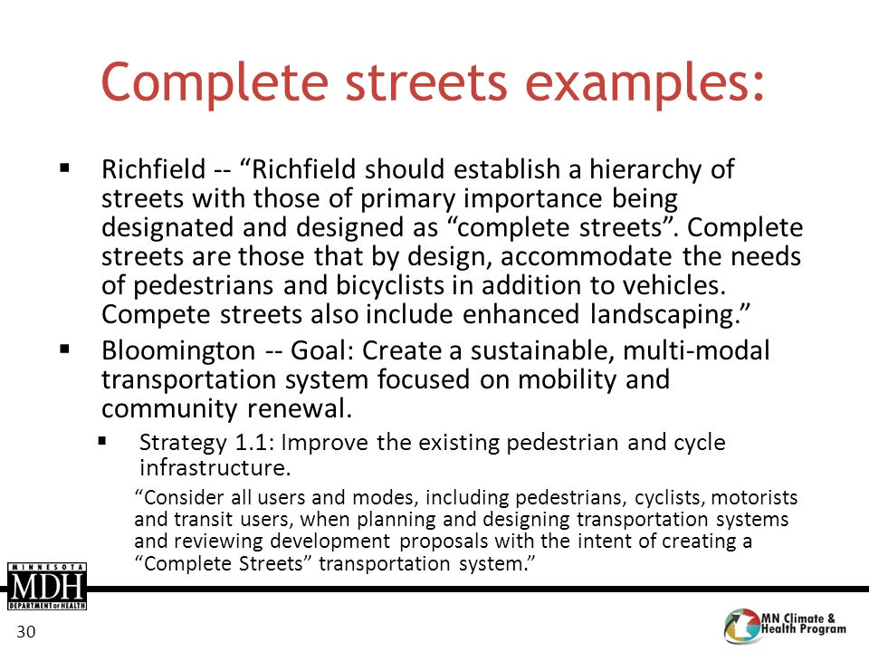 Complete streets examples: