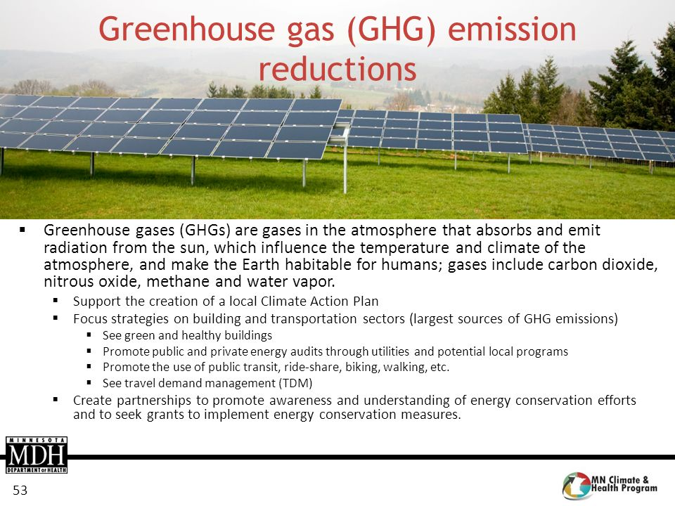 Greenhouse gas (GHG) emission reductions