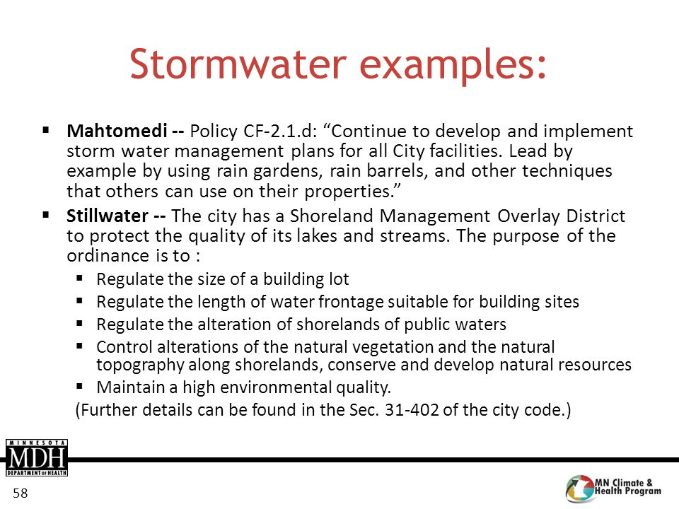 Stormwater examples: