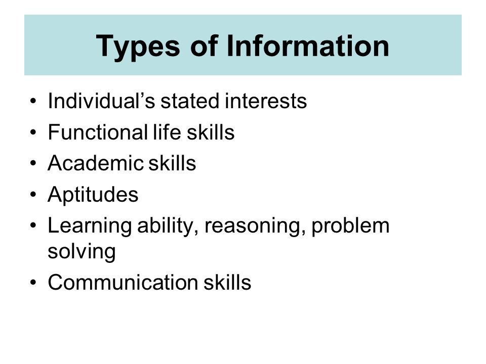 Types of Information Individual's stated interests