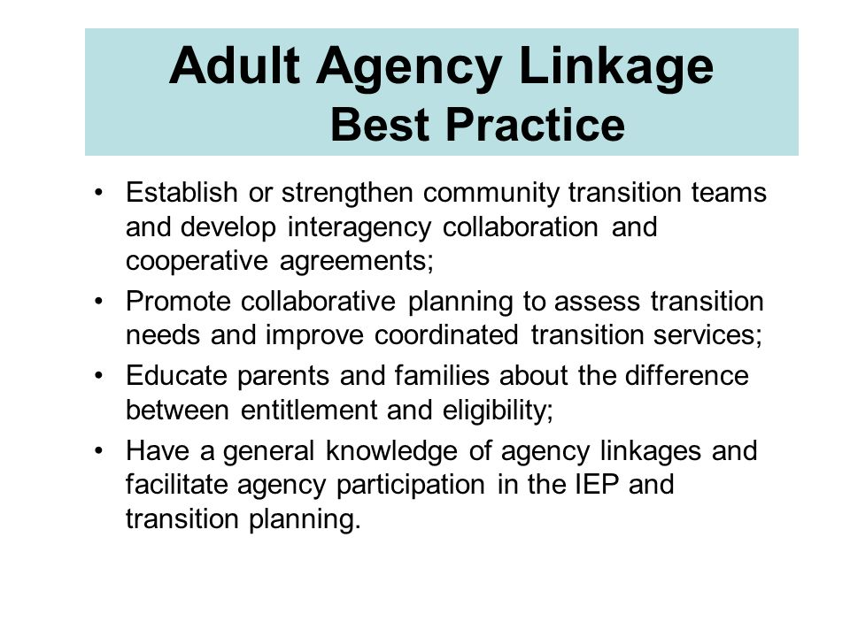 Adult Agency Linkage Best Practice