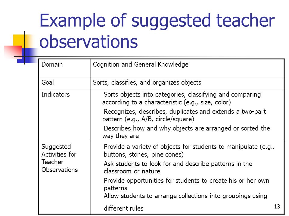 Example of suggested teacher observations