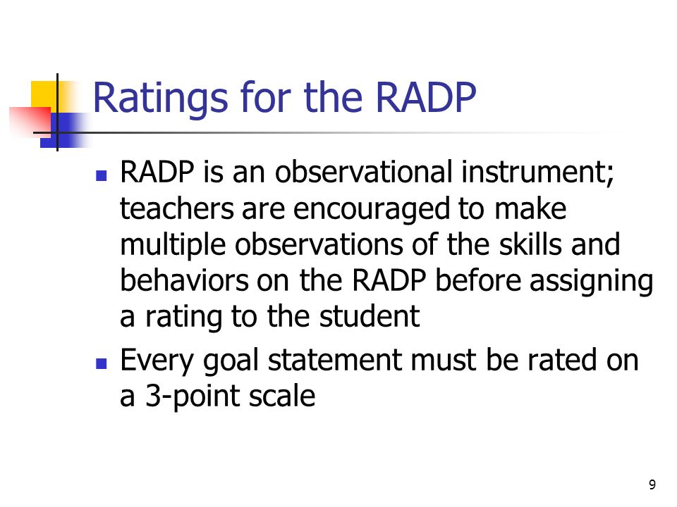Ratings for the RADP