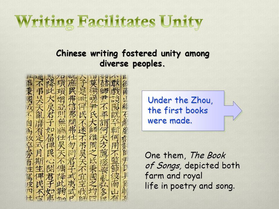 Chinese writing fostered unity among diverse peoples.