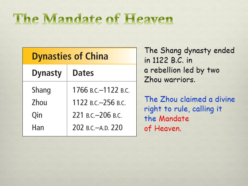The Mandate of Heaven The Shang dynasty ended in 1122 B.C. in a rebellion led by two Zhou warriors.