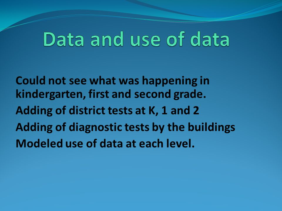 Data and use of data Could not see what was happening in kindergarten, first and second grade. Adding of district tests at K, 1 and 2.