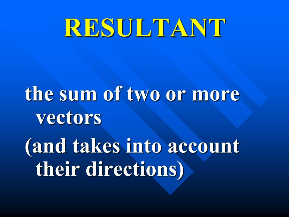 RESULTANT the sum of two or more vectors