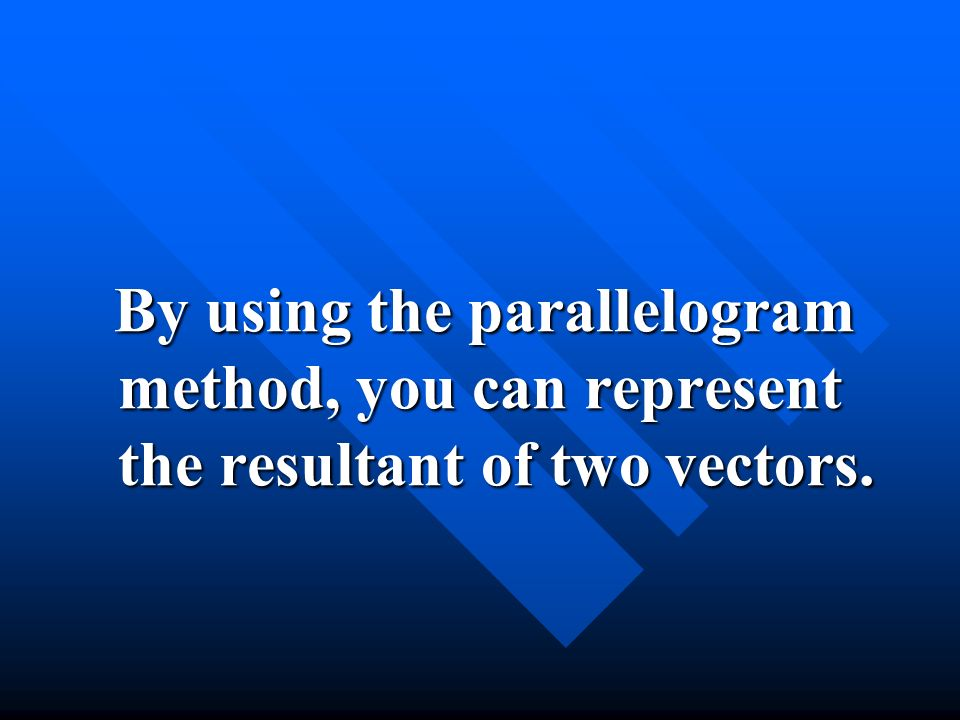By using the parallelogram method, you can represent the resultant of two vectors.