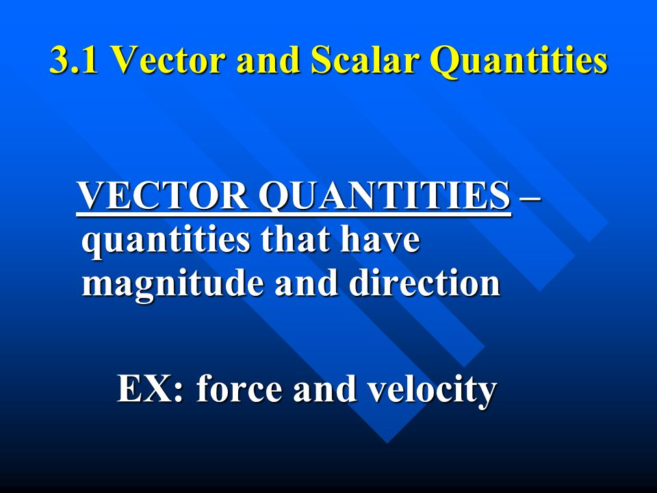 3.1 Vector and Scalar Quantities