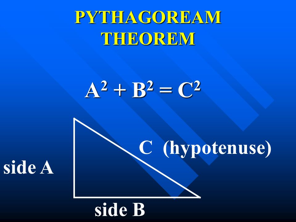PYTHAGOREAM THEOREM A2 + B2 = C2 C (hypotenuse) side A side B