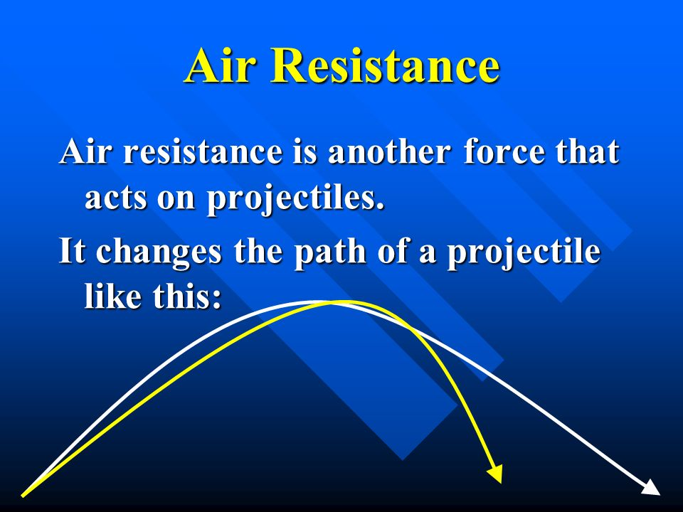 Air Resistance Air resistance is another force that acts on projectiles.