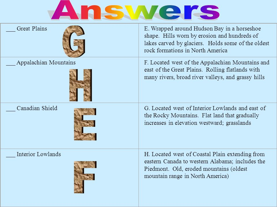 Answers G H E F ___ Great Plains