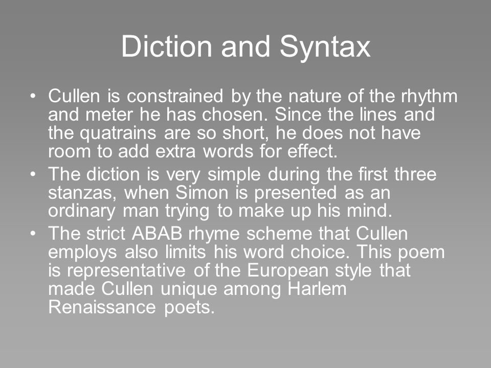 Diction and Syntax