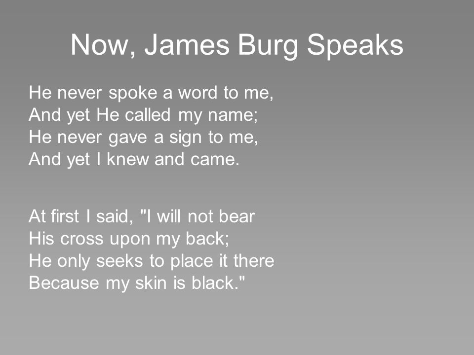 Now, James Burg Speaks He never spoke a word to me,