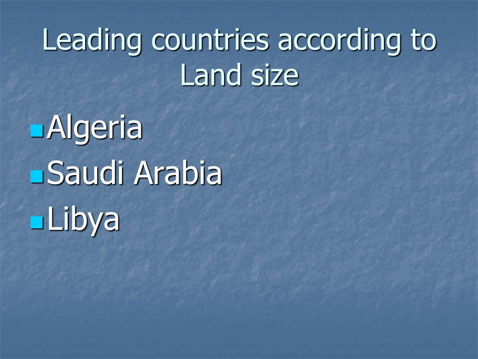 Leading countries according to Land size
