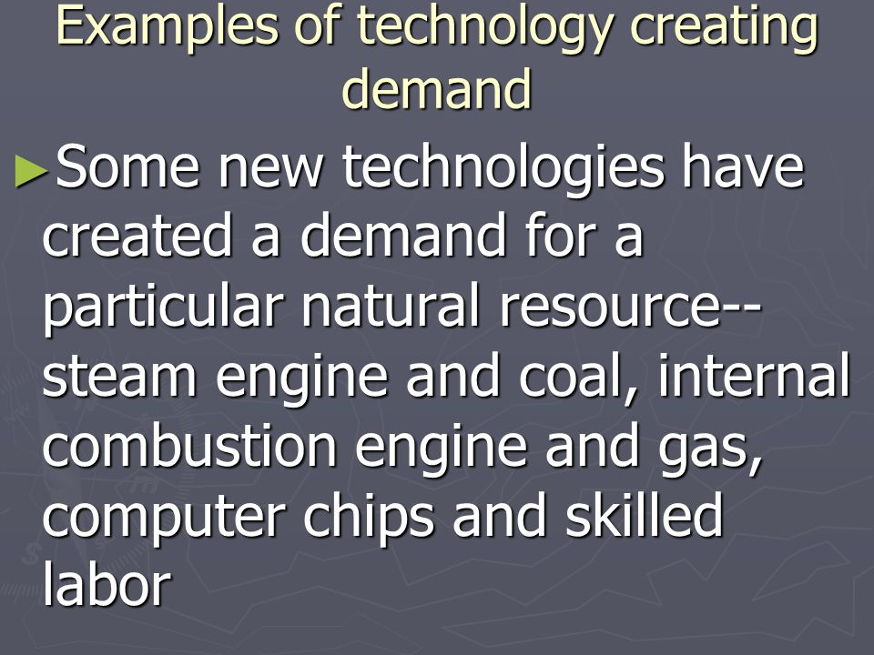 Examples of technology creating demand