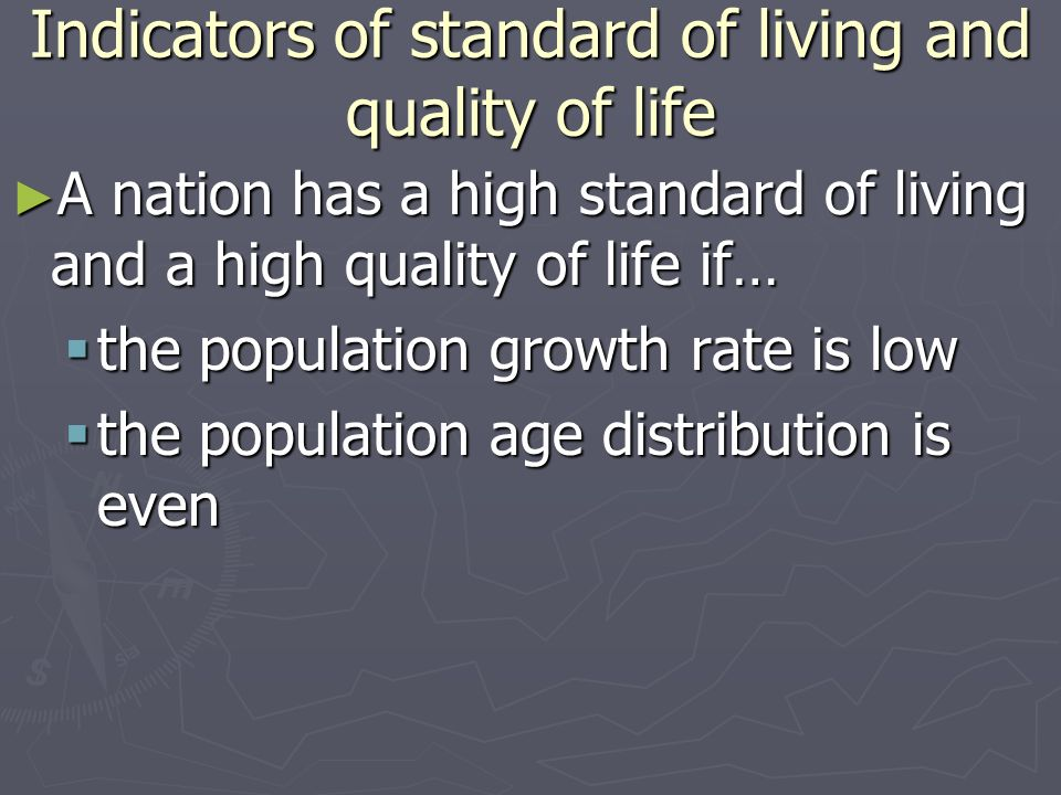 Indicators of standard of living and quality of life