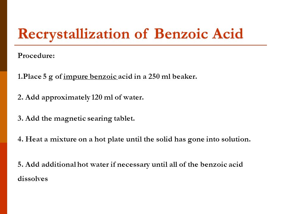 recrystallization of impure benzoic acid