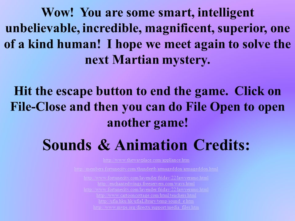 Sounds & Animation Credits: