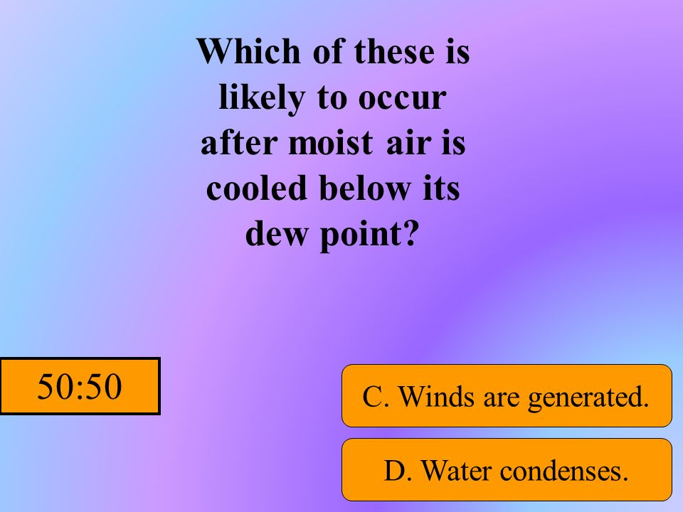 Which of these is likely to occur after moist air is cooled below its dew point
