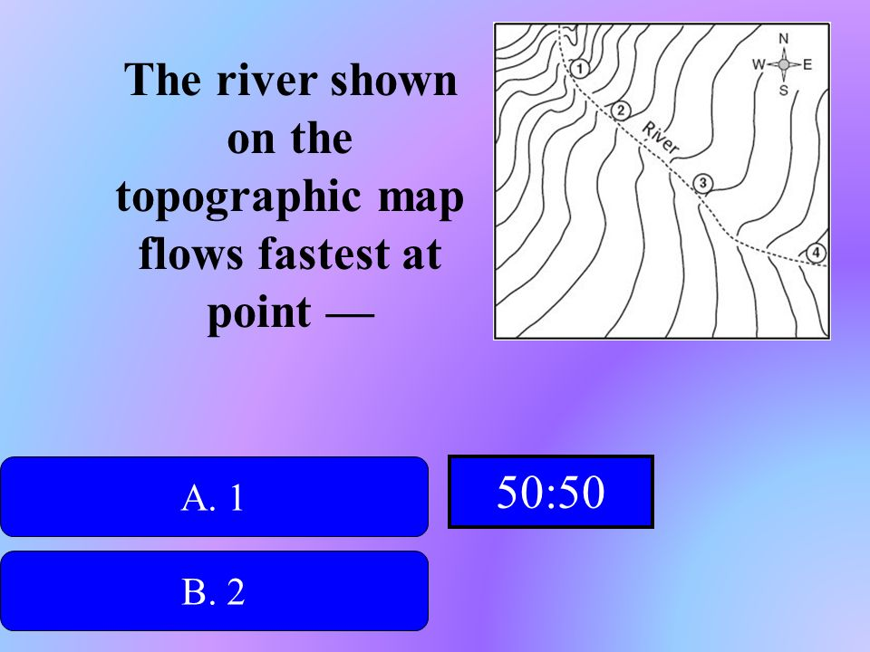 The river shown on the topographic map flows fastest at point —
