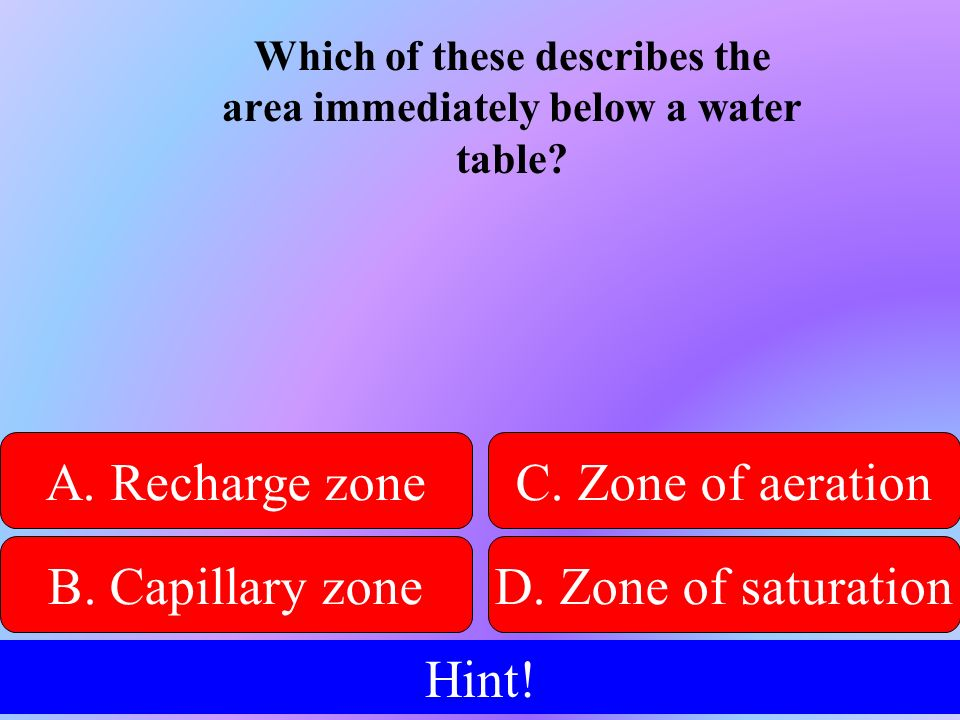Which of these describes the area immediately below a water table