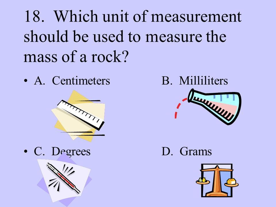 18. Which unit of measurement should be used to measure the mass of a rock