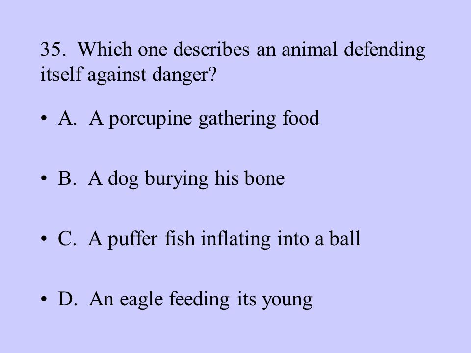 35. Which one describes an animal defending itself against danger