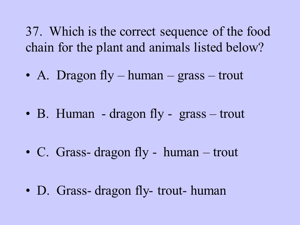 37. Which is the correct sequence of the food chain for the plant and animals listed below