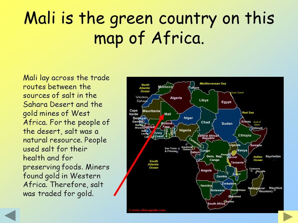 Mali is the green country on this map of Africa.