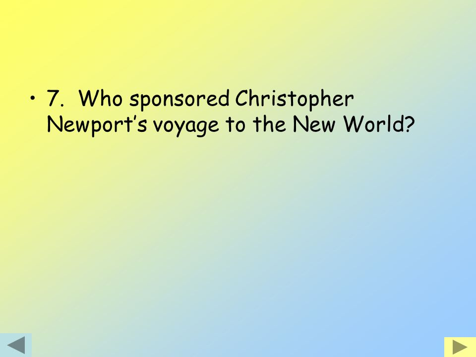 7. Who sponsored Christopher Newport's voyage to the New World